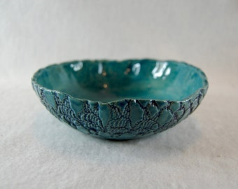 Bowls, shell, turquoise blue, cereal Bowl, jewelry tray, gravy, pastry shell, crochet pattern, crochet blanket, unique