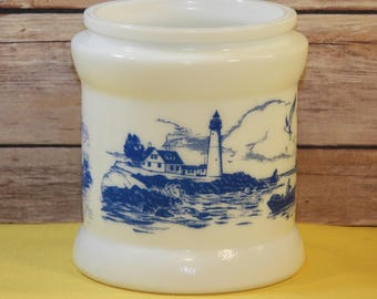 Vintage Delft Milk Glass Humidor,Blue White Dutch Windmill Canister, Nautical Decor Craft Canister,Ocean Water Harbor Jug, Kitchen Storage