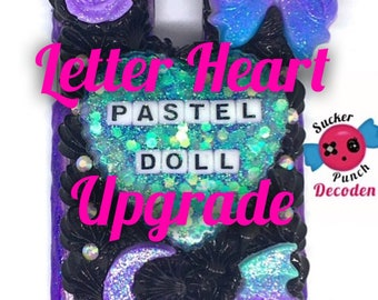 letter heart upgrade, custom decoden case upgrade, decoden case add on