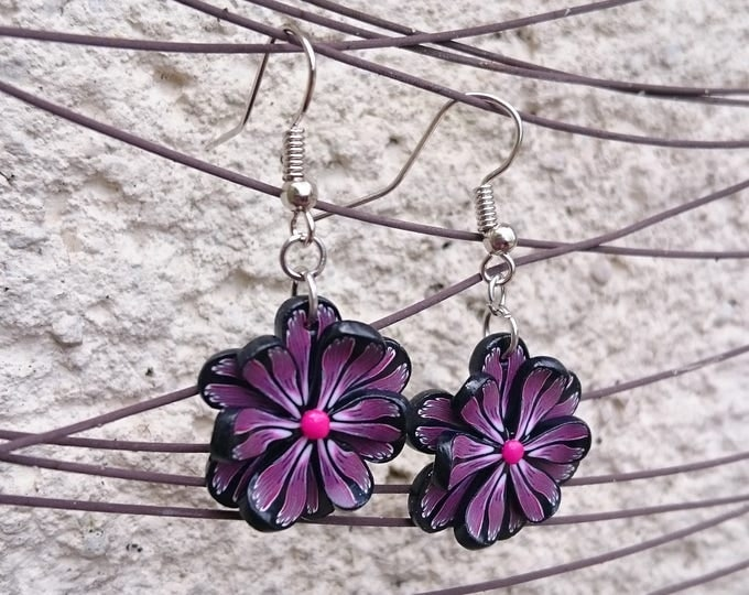 Earrings black and purple flower polymer clay silver metal (sculpey) silver-mounted