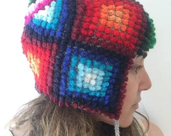 Full color Andes knitted , mandala, hat , wool , handmade, ethnic , accessories. Unisex, chullo, Peru.