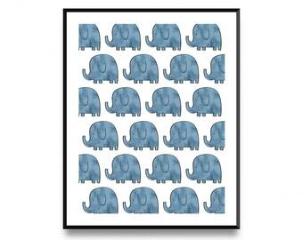 Elephant wall print, elephant pattern, elephant print, elephant art print, elephant baby art, nursery art, elephant art, nursery decor