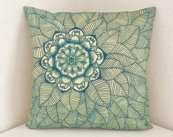 Cushion Cover, Floral Print, Boho Pillow, Mandala Floral Design Cushion