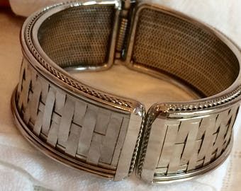 Silvertone Mirrored Woven Hinged Clamper Bracelet