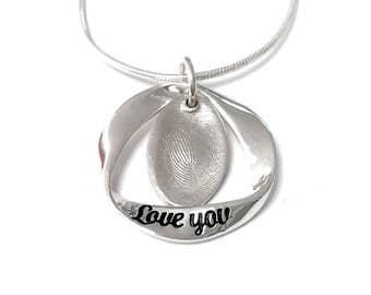 Fingerprint pendant charm necklace with surrounding Love You pendant - actual fingerprint - fingerprint jewellery