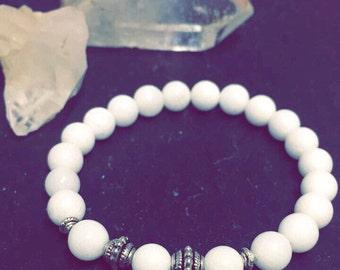 White Jade 8mm Gemstone Bracelet