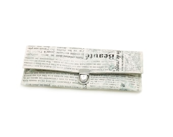 Hot deal! BorsaFoglio print newspaper and rose, glittered silver ring and pockets beige