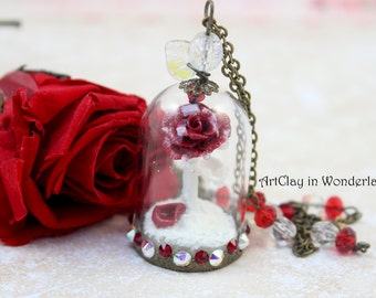 Eternal Rose necklace, pink frosted under glass dome