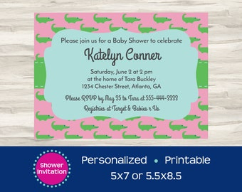 Pink and Green Gator Baby Shower Invitation