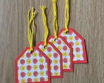 Gift Tags ~ Red and Yellow ~ Floral ~ Any Occasion ~ Set of 4
