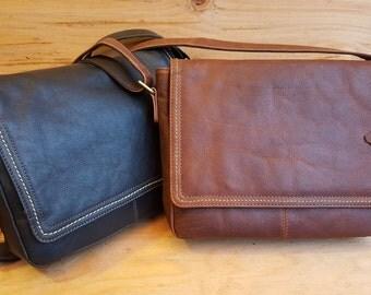 Leather Messenger Bag / Unisex Leather Messenger Laptop Bag / Leather Laptop Bag