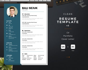 clean resume template cv cover letter portfolio instant download a4 us