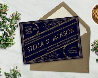 PRINTABLE Art Deco Wedding Invitation Set, perfect for LETTERPRESS