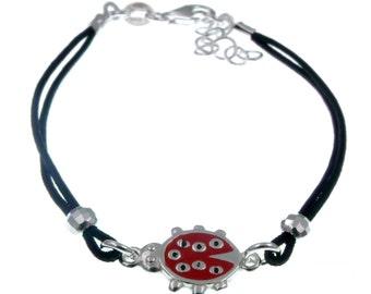 925 silver bracelet with glazed cotton adjustable black LADYBUG gift ideas