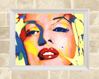 Colorful Marilyn Poster / Marilyn Monroe / Printable Poster / Instant Digital Download / 46cm x 61cm
