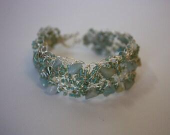 Blue Crochet Wire Bracelet