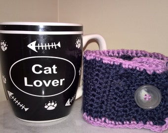 Button coffee cup cozy. blue and lilac