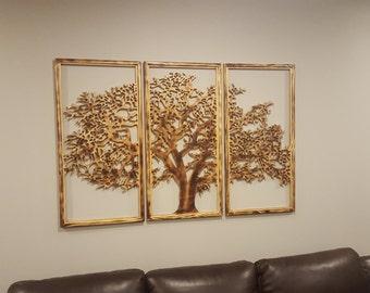 Superieur Tree Of Life Wall Art 3 Panels Handmade 3D   Home Decor Dark Frame