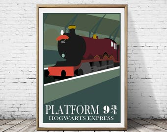 Harry Potter Platform 9 34 Hogwarts Express Train Ministry of Magic Artwork Alternative Traveling Movie Poster Print