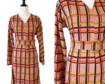 Vintage 1970's Orange Plaid Dress - Size Large