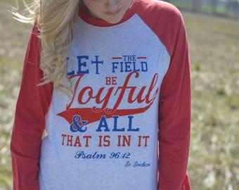 Let the Field Be Joyful Baseball Tee- Red