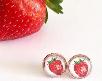 Strawberry Rose Gold Glass Stud Earrings