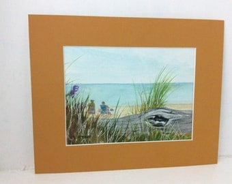 original watercolor painting, Breakwater beach, cape cod, Ma watercolor matted 8 x 10 inches