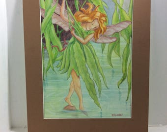 Willow Fairy, mixed media watercolor and colored pencil painting,  Cicely Barker inspired, matted,  11 x 14 matted FREE SHIPPING in USA