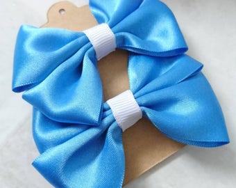 Hair bows - pair of hair bows - hair clips - hair bobbles - girls hair accessories - birthday gift - hair accessories - blue bows - set of 2