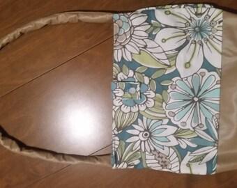 Handmade Floral Purse Handbag Lined With Interior Pocket Button Closure