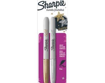 Sharpie Fine Point Metallic Gold and Silver Permanent Marker Set, guest book marker, metallic Sharpies, metallic markers for dark paper