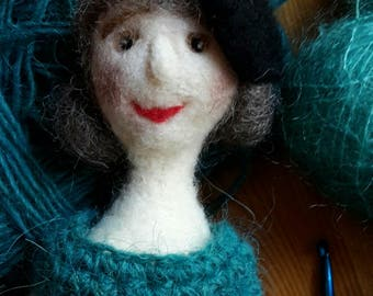 Felted art doll felted LILOU with green knitted dress, needle felted, soft sculpture