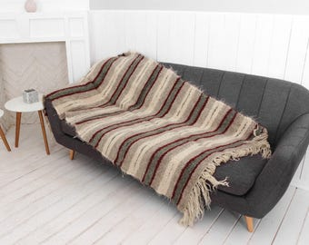 Outdoor Blanket, Wool Throw, Gray Striped Throws, Woven Plaid, Handmade Sofa  Cover