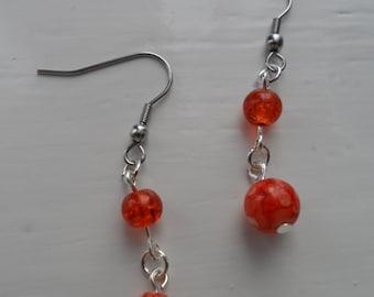 Deep Orange and White Swirl Glass Bead, Silver Plated Drop Dangle Earrings. Birthday/Occasion Jewellery. Hook/Stud Post Option