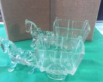 Clear glass donkey and cart pair