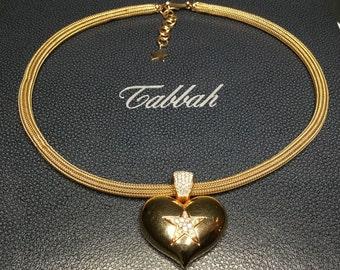 Tabbah Designer 18K Yellow Gold 1.25 CTW Diamond Star Heart Pendant Necklace
