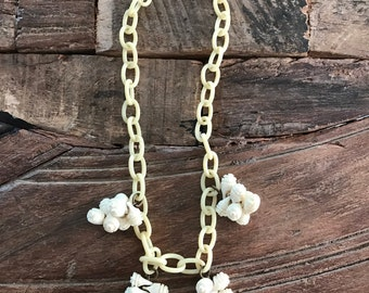 Vintage Celluloid necklace with flower clusters