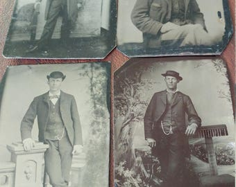 Men With Hats and Attitudes:  Lot of 4 Antique Tintype Photographs of Confident Men Wearing Hats