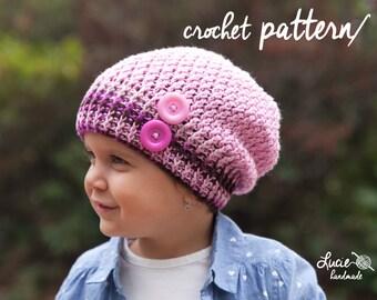 Crochet Hat PATTERN No.66 - Uni Slouchy Winter Hat, Autumn Hat, Spring Hat Crochet Pattern