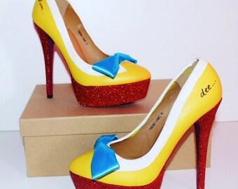 """Customised """"Tweedle Dee-Dum"""" Alice in Wonderland High Heels"""