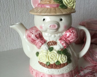 Cute Vintage Piggy Teapot from the 1980s, Ceramic Pottery