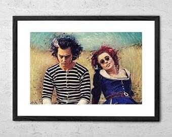 Sweeney Todd and Mrs. Lovett - Digital Painting - Movie Poster - Tim Burton - Johnny Depp - Helena Bonham Carter - Horror - Demon Barber