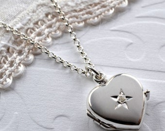 Sterling Silver Diamond kissed Locket
