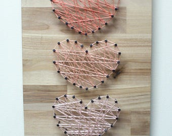 Three Hearts String Art - Heart String Art, Love String Art,  Heart Sign, Heart Decor, Rustic Heart Sign, String Art Hearts