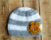 Striped Baby Hat, Baby Girl Beanie, Crocheted Hat, Grey and White Hat, Winter Beanie, Warm Baby Hat, Crochet Accessory, Baby Shower Gift,