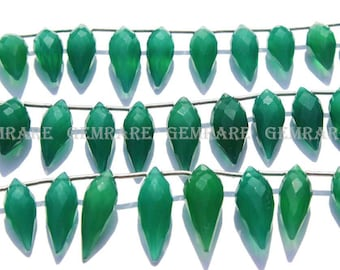 Chandelier Faceted Beads In Green Onyx Beads, Quality AAA, 5.50x11.50 to 5.50x14.50 mm, 18 cm, 25 pieces, GR-005/1, Semiprecious Gemstone