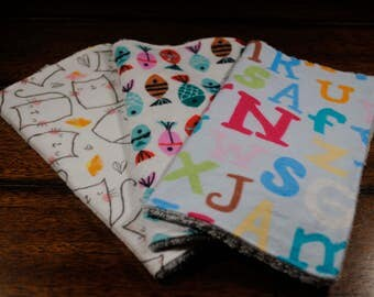 Colorful Letters, Cats and Fish print washcloths, 3 Snuggle Flannel and Chenille Washcloths, Ultra soft, Great baby shower gift, Bath time