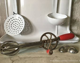 Crank mixer hand mixer whisk whisk hand whisk vintage Brocante shabby old