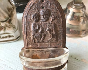 Holy water stoup brocante antique shabby vintage rusty vintage