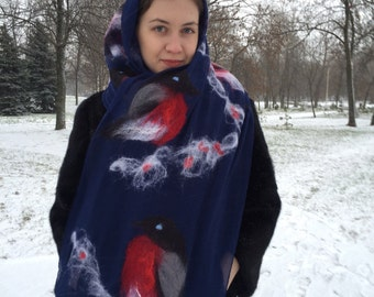 "Blue felted scarf-tippet ""Bullfinch"""